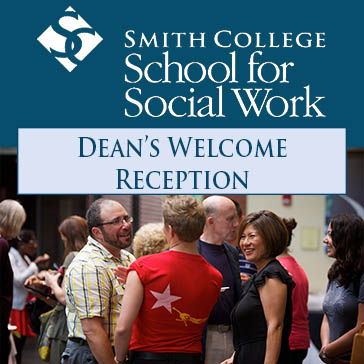 Promotional image including event title and image of Dean Yoshioka socializing with students at the 2014 Dean's welcome reception