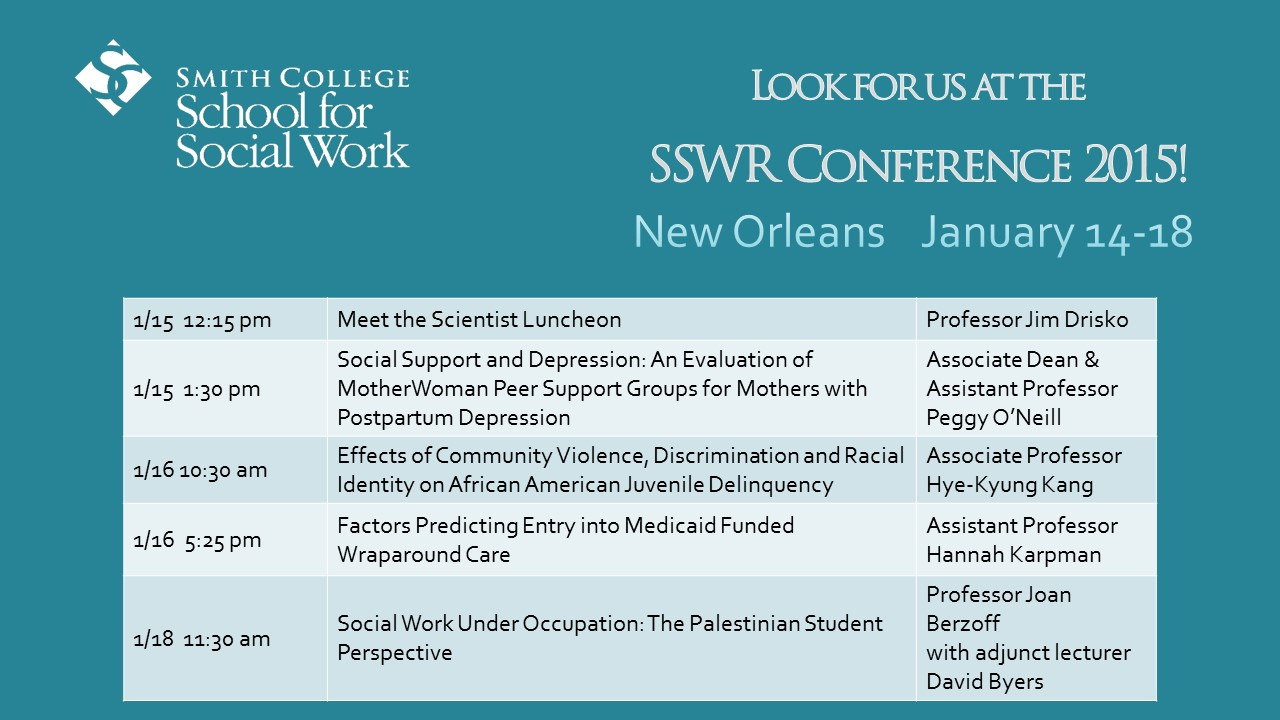 Promotional image including SSWR presentations listed in the text below