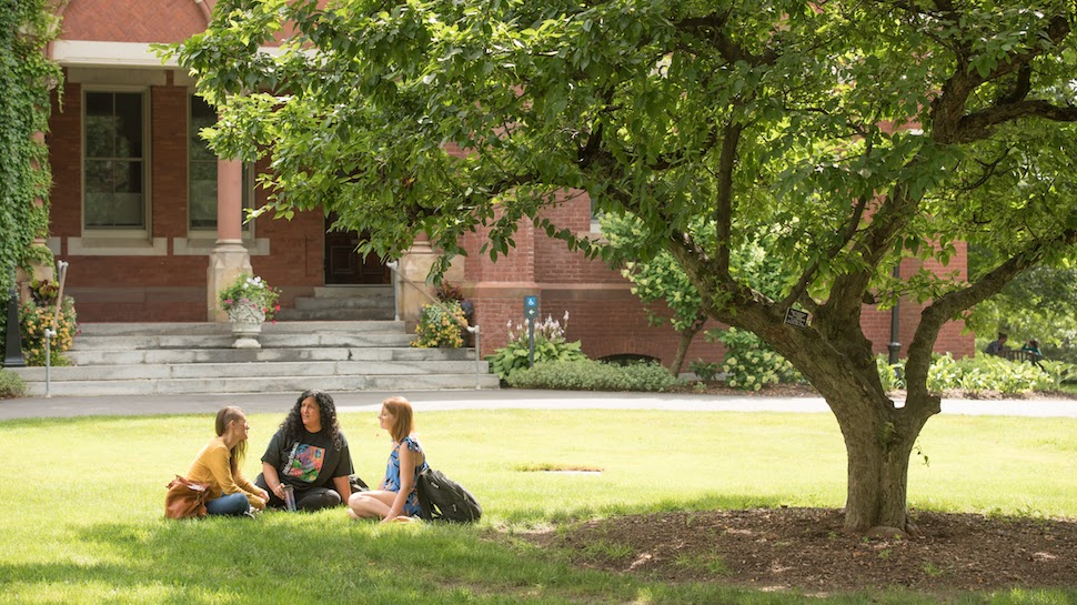 Three Smith MSW students sitting under a tree outside College Hall