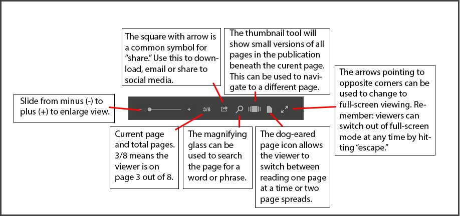explanation of Issuu's control buttons