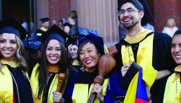 Yoosun Park with students after Commencement 2016