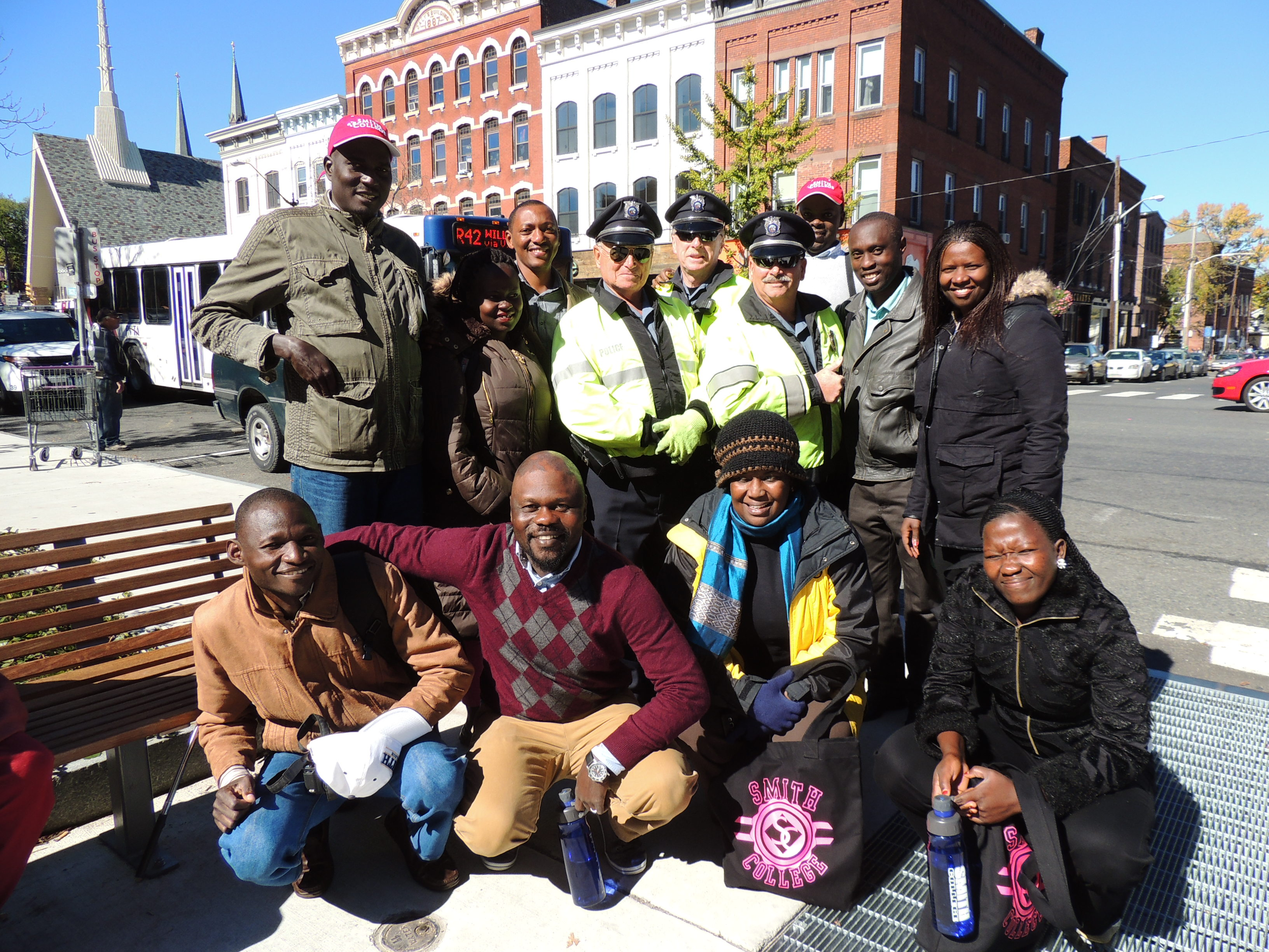 Visiting African delegates in downtown Northampton